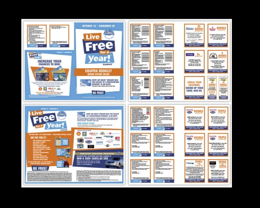 my role DESIGN + PRODUCTION agency AIR MILES. i was fortunate to repeatedly work on the quarterly campaign that gave collectors the opportunity to earn extra miles or maybe even visit sponsors they never had before. creative and production of 10 regional coupon books consisting of approximately 120 coupons - and their barcodes (national and regional) and in-store co-branded pos (various sized signage, standees, shelf-talkers). produced in english and french.