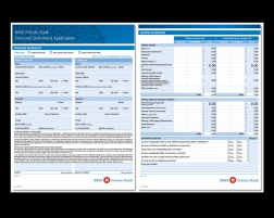 my role DESIGN + PRODUCTION. working directly with the VP, Sr Mgr Compliance in Chicago, we created a multi-page application - two pages shown here. the app is fillable, AODA ready and has full calculating capabilities. for the US market, english only produced, with careful attention to US spelling preferences.
