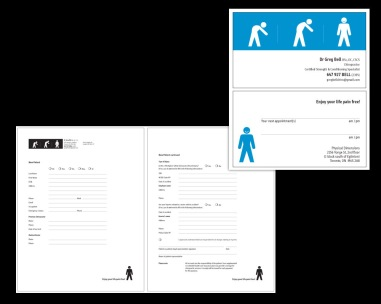 my role CREATIVE + PRODUCTION + ART DIRECTION. branding for a new chiropractic practice. message is conveyed cleanly, strongly and smartly.package also included 22 patient forms. i still laugh when i see it!