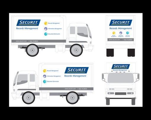 PRODUCTION agency CREATIVE NETWORK art director DAVERAL PRINS. truck graphics for securit records management and shredit mobile shredding service trucks.