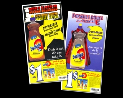 DESIGN + PRODUCTION agency HORIZON / COMMIX client LEVER product launch for anti grease and mild formula. sourced illustrators (cape). collateral also included in-store displays, pos, coupon pads, ads, fsi