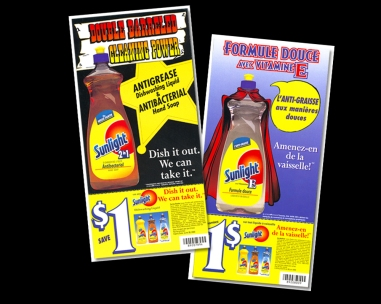 my role DESIGN + PRODUCTION agency HORIZON / COMMIX client LEVER product launch for anti grease and mild formula. sourced illustrators (cape). collateral also included in-store displays, pos, coupon pads, ads, fsi