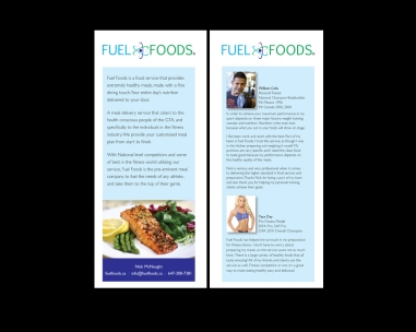 CREATIVE + PRODUCTION an info sheet for a new online meal and delivery service based in toronto, catering to the 'serious' fitness industry. nick wanted short, sweet, an image, some testimonials - and to appeal to a broader audience, not just trainers and their clients. happy with the outcome, i was kept in clean, delicious... prepared... food, for quite a while. thanks, nick!