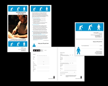 CREATIVE + PRODUCTION + ART DIRECTION. branding for a new chiropractic practice. message is conveyed cleanly, strongly and smartly. package included logo, cards, flyer (with detachable card) and 22 various intake forms. i still laugh when i see it!