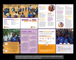 my role CREATIVE + ART DIRECTION i had originally applied for an annual report for the geneva head office of DEFENCE FOR CHILDREN INTERNATIONAL. one morning i received a lovely email from Johan (in sierra leone!) - requesting my help... and so it began! we completed an a5 size brochure and 4-a4 fact sheets. although some of the client stories and facts are difficult to fathom - the leaps forward and positive outcome of the work that is being done is inspiring. thanks Johan, Manaff and Issa!